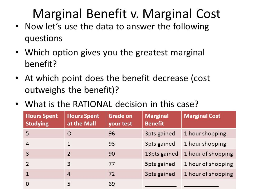 Marginal Benefit v. Marginal Cost Now let's use the data to answer the following questions Which option gives you the greatest marginal benefit? At wh