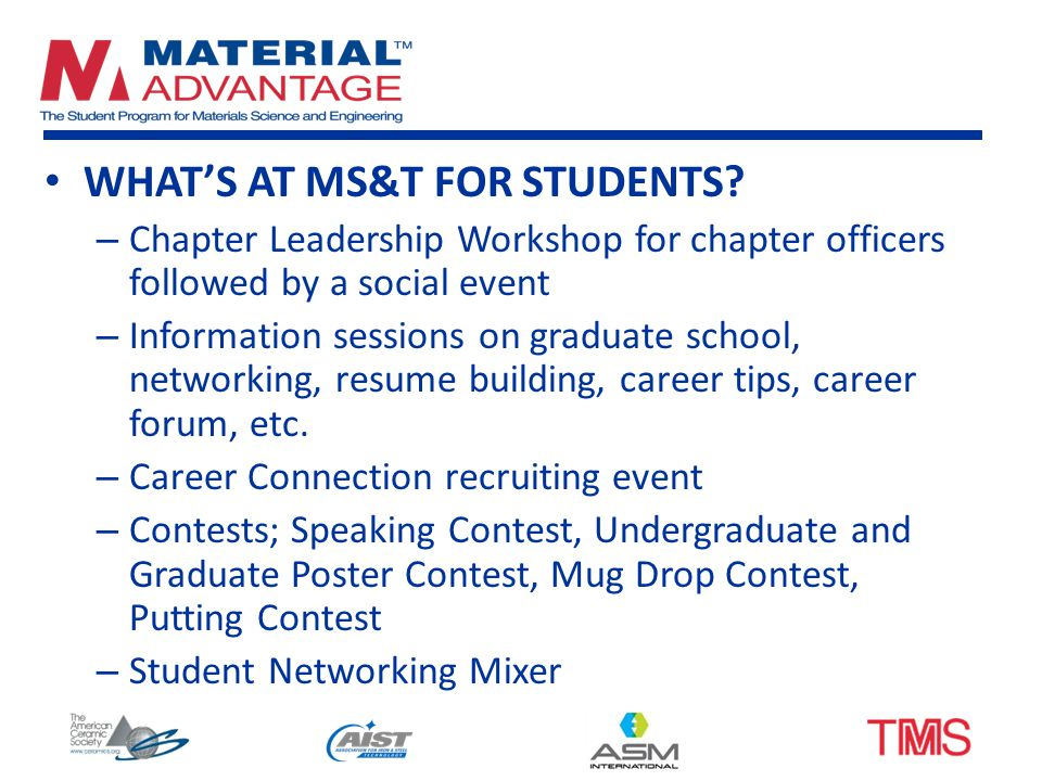 WHAT'S AT MS&T FOR STUDENTS.