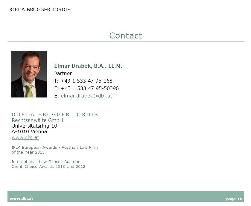 DORDA BRUGGER JORDIS page 10 www.dbj.at Elmar Drabek, B.A., LL.M.