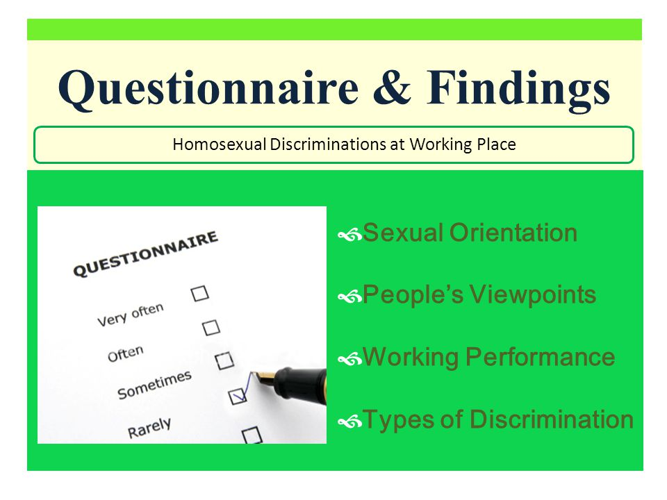 Discrimination Survey Homosexual Discriminations at Working Place