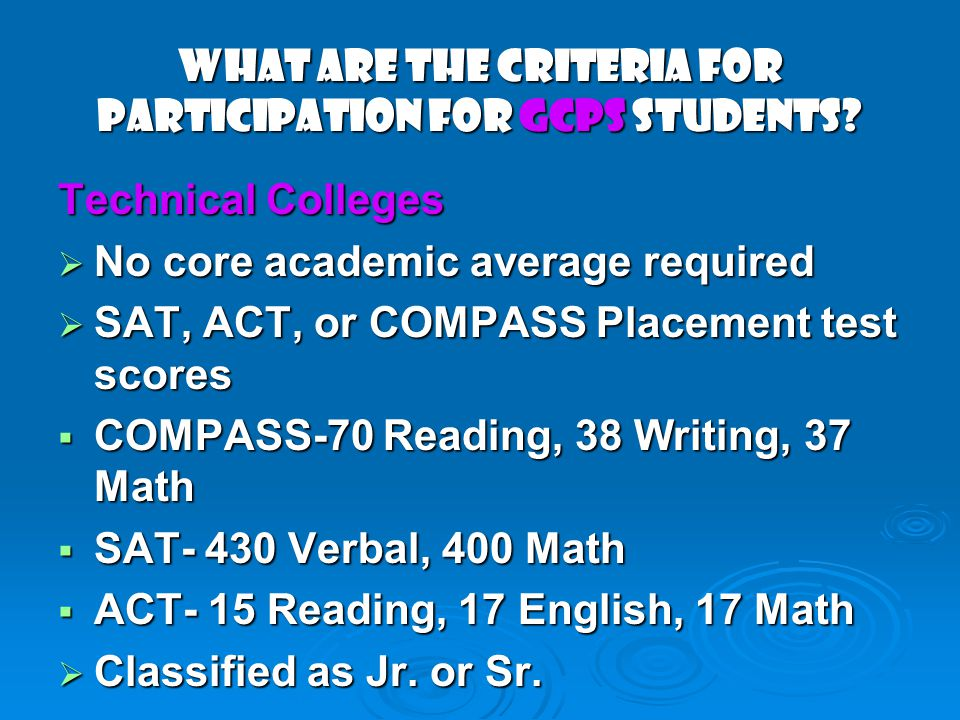 What Are the Criteria for Participation for GCPS Students.