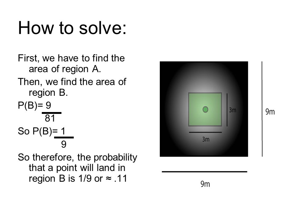 How to solve: First, we have to find the area of region A. Then, we find the area of region B. P(B)= 9 81 So P(B)= 1 9 So therefore, the probability t