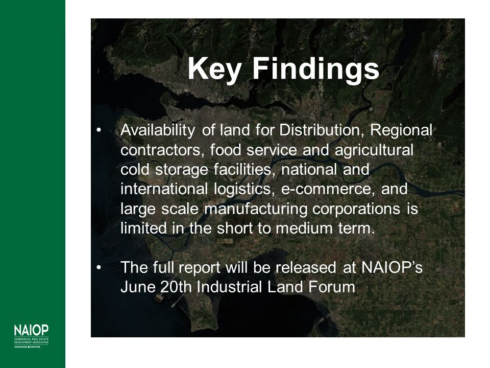 Availability of land for Distribution, Regional contractors, food service and agricultural cold storage facilities, national and international logisti