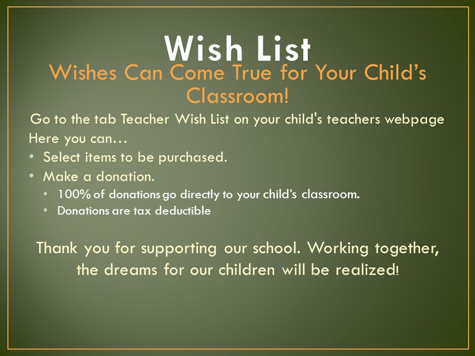 Wishes Can Come True for Your Child's Classroom.