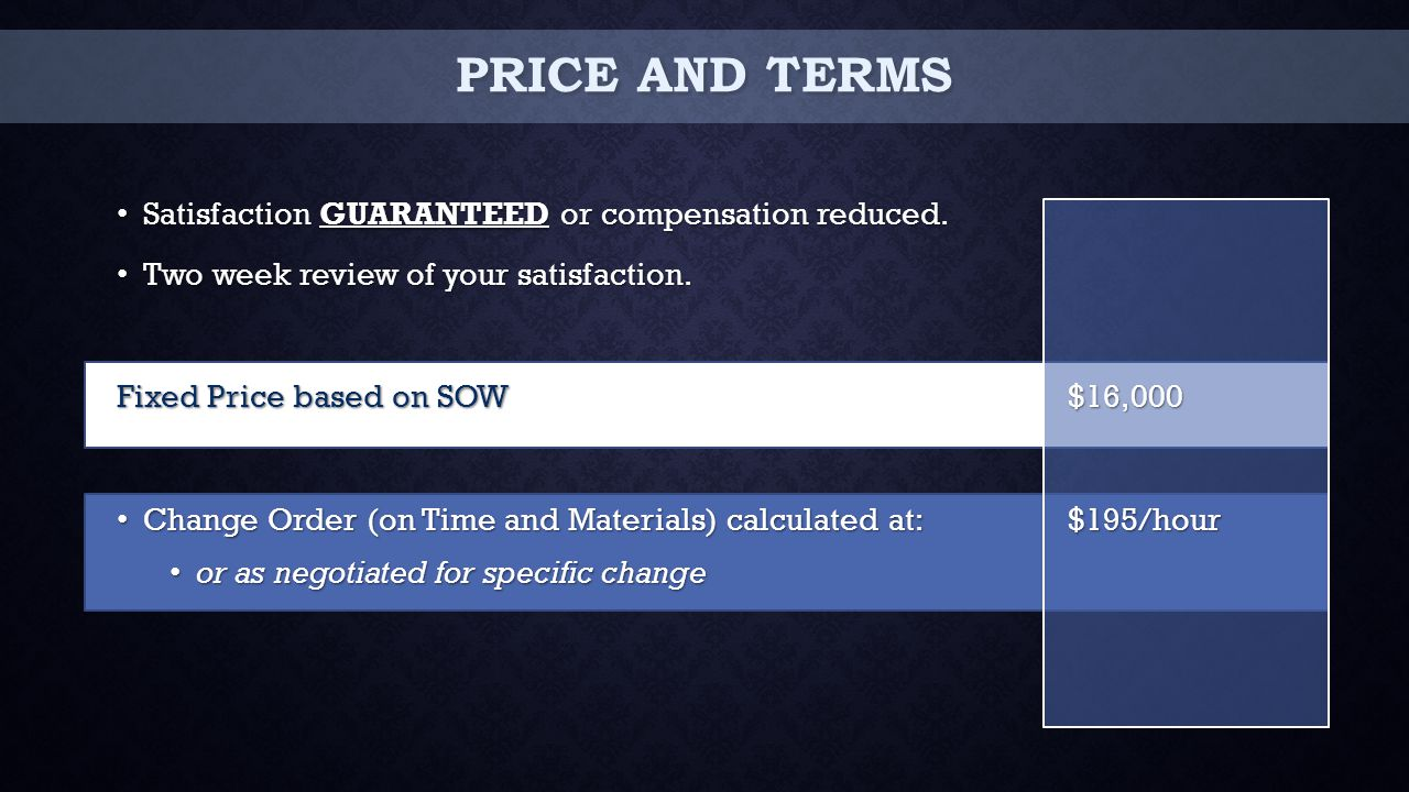 PRICE AND TERMS Satisfaction GUARANTEED or compensation reduced.