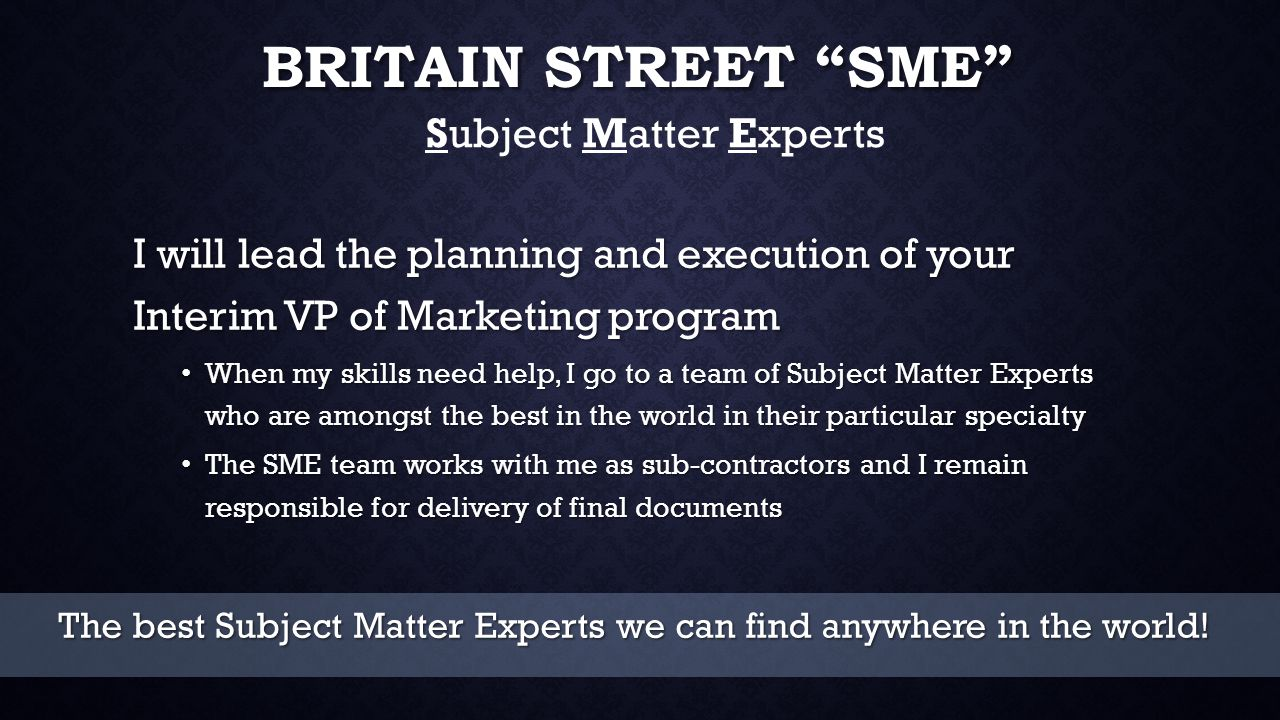 CONTACT INFORMATION Bob Smith, PMP Britain Street Consulting, Inc.