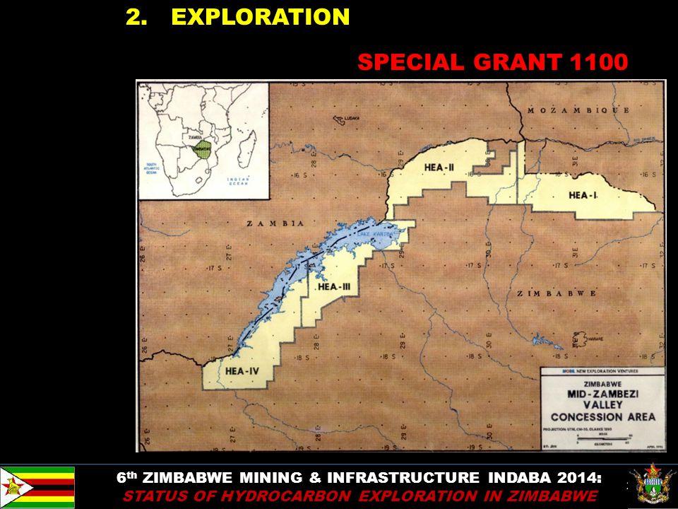 26 2. EXPLORATION 6 th ZIMBABWE MINING & INFRASTRUCTURE INDABA 2014: STATUS OF HYDROCARBON EXPLORATION IN ZIMBABWE SPECIAL GRANT 1100