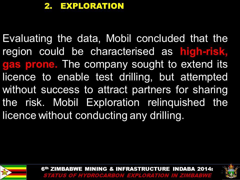 28 2. EXPLORATION 6 th ZIMBABWE MINING & INFRASTRUCTURE INDABA 2014: STATUS OF HYDROCARBON EXPLORATION IN ZIMBABWE Evaluating the data, Mobil conclude