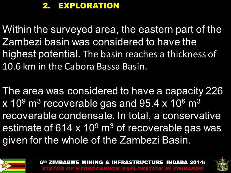 30 2. EXPLORATION 6 th ZIMBABWE MINING & INFRASTRUCTURE INDABA 2014: STATUS OF HYDROCARBON EXPLORATION IN ZIMBABWE Within the surveyed area, the easte