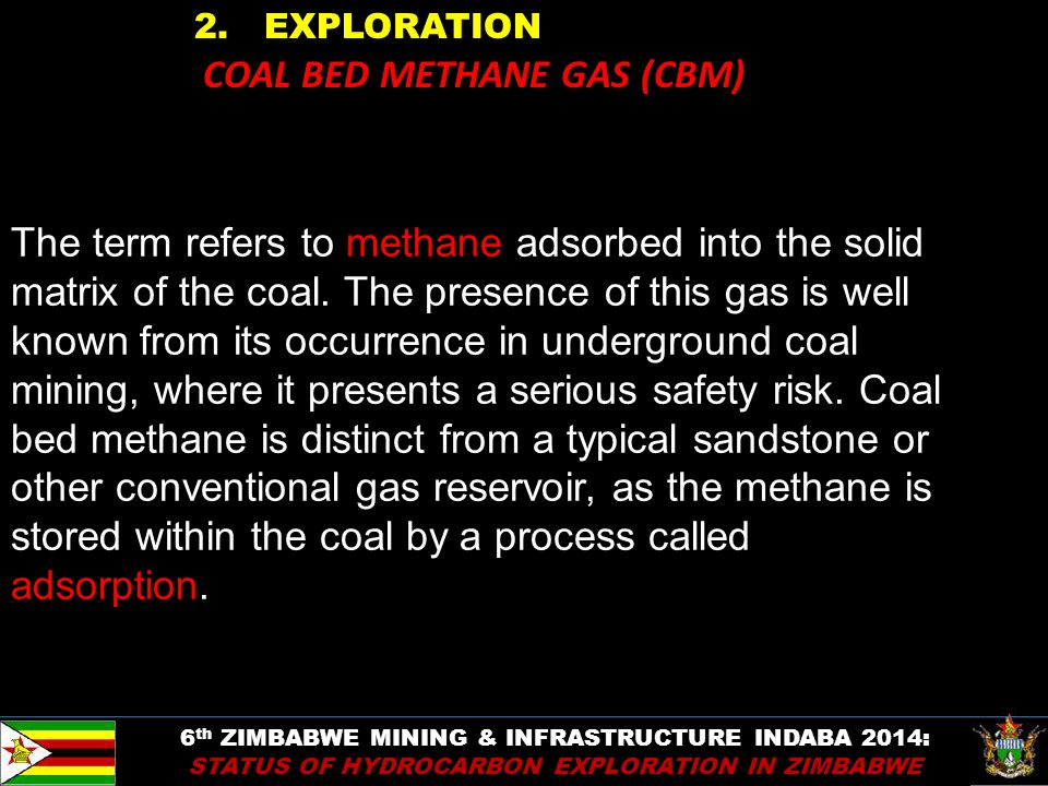 2. EXPLORATION COAL BED METHANE GAS (CBM) The term refers to methane adsorbed into the solid matrix of the coal. The presence of this gas is well know