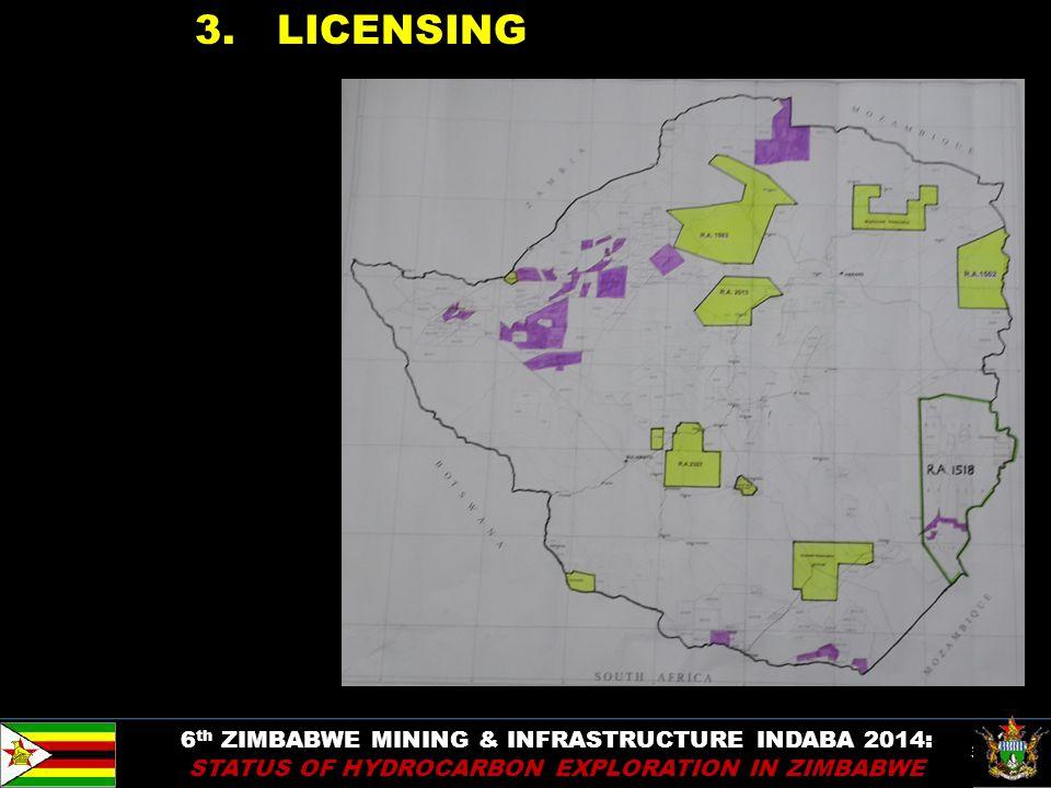 38 3. LICENSING 6 th ZIMBABWE MINING & INFRASTRUCTURE INDABA 2014: STATUS OF HYDROCARBON EXPLORATION IN ZIMBABWE