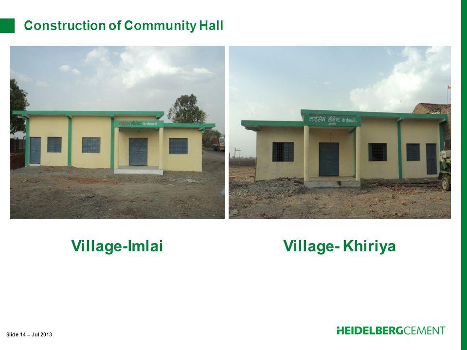 Village-ImlaiVillage- Khiriya Construction of Community Hall Slide 14 – Jul 2013