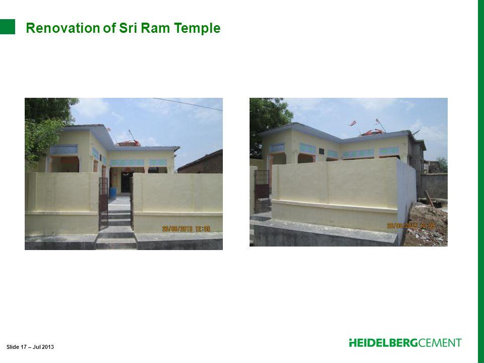 Renovation of Sri Ram Temple Slide 17 – Jul 2013