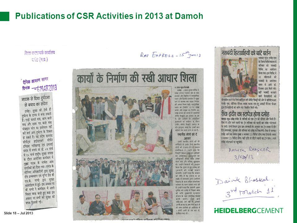 Publications of CSR Activities in 2013 at Damoh Slide 18 – Jul 2013