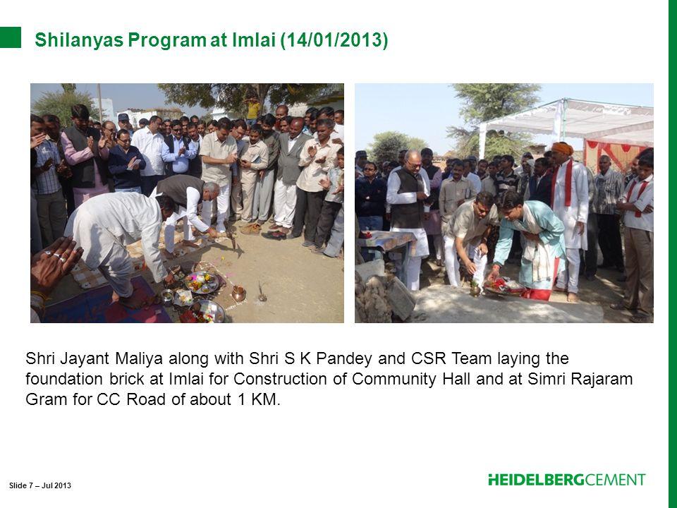 Shilanyas Program at Imlai (14/01/2013) Shri Jayant Maliya along with Shri S K Pandey and CSR Team laying the foundation brick at Imlai for Construction of Community Hall and at Simri Rajaram Gram for CC Road of about 1 KM.