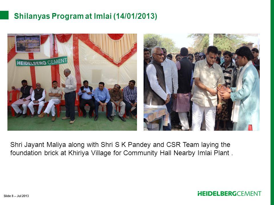 Shilanyas Program at Imlai (14/01/2013) Shri Jayant Maliya along with Shri S K Pandey and CSR Team laying the foundation brick at Khiriya Village for Community Hall Nearby Imlai Plant.