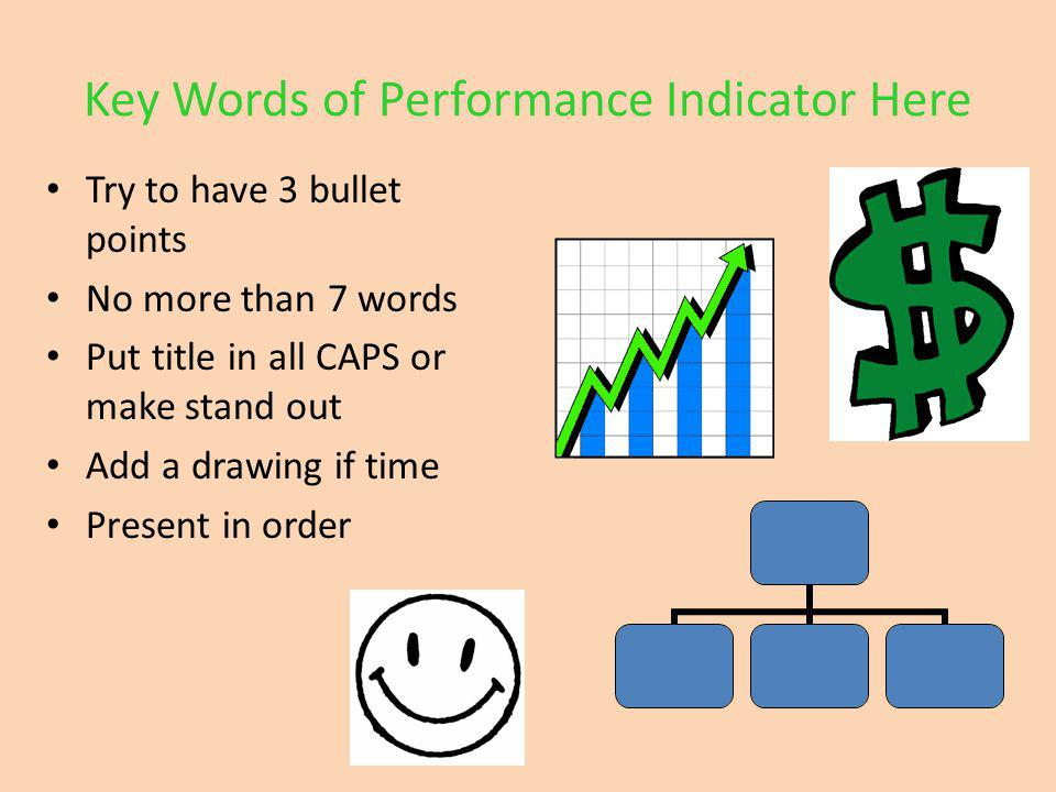 Key Words of Performance Indicator Here Try to have 3 bullet points No more than 7 words Put title in all CAPS or make stand out Add a drawing if time Present in order