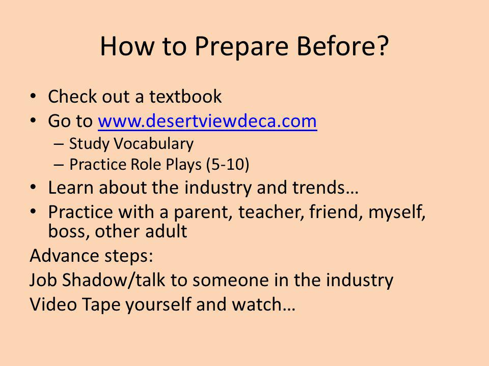 How to Prepare Before.