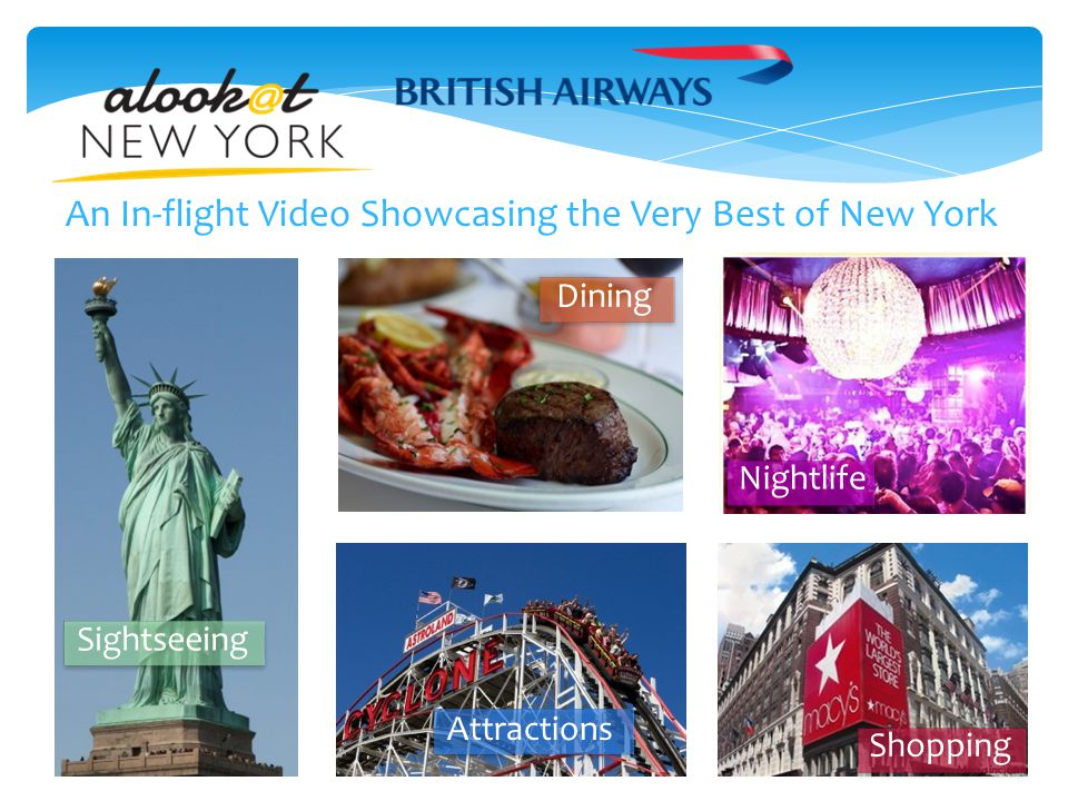 In-flight Entertainment for a Captive Audience  A Look At New York is a professionally produced, 30-minute program shown on every British Airways flight into New York.