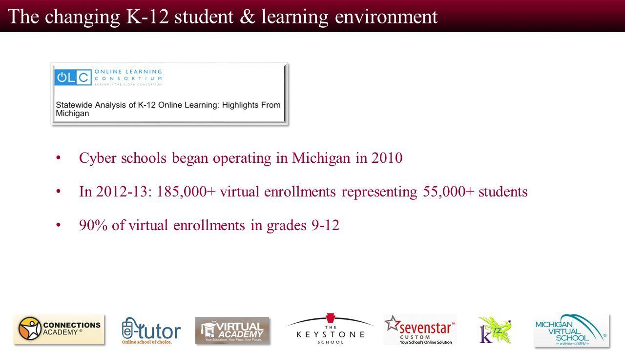 The changing K-12 student & learning environment Cyber schools began operating in Michigan in 2010 In 2012-13: 185,000+ virtual enrollments representi