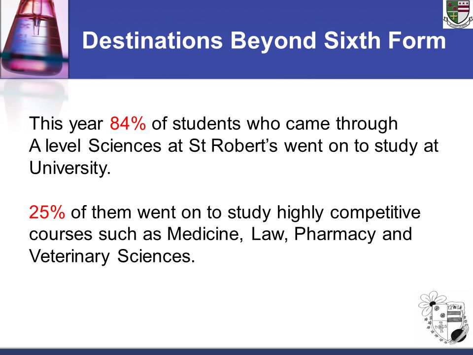 Destinations Beyond Sixth Form This year 84% of students who came through A level Sciences at St Robert's went on to study at University. 25% of them