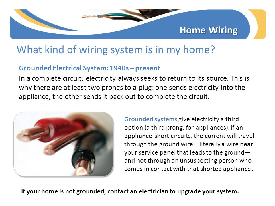 What kind of wiring system is in my home? Grounded Electrical System: 1940s – present In a complete circuit, electricity always seeks to return to its