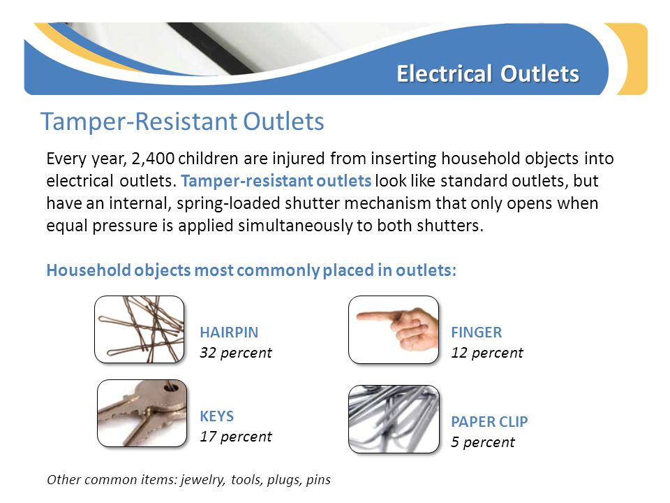 Electrical Outlets Tamper-Resistant Outlets Every year, 2,400 children are injured from inserting household objects into electrical outlets.