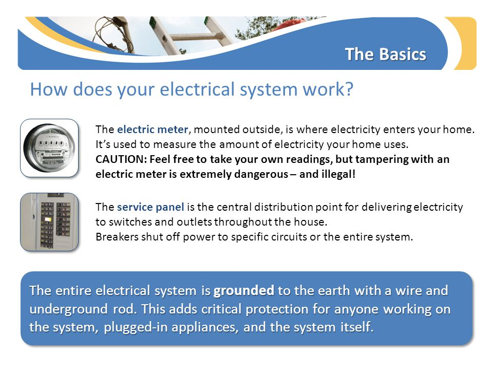 The Basics How does your electrical system work? The electric meter, mounted outside, is where electricity enters your home. It's used to measure the