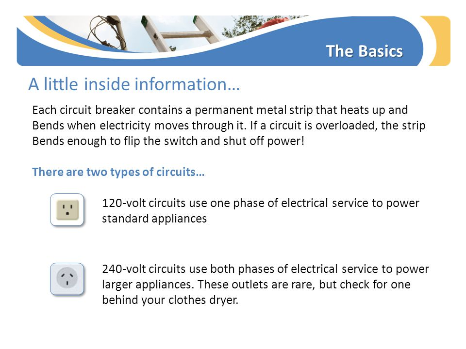 The Basics A little inside information… Each circuit breaker contains a permanent metal strip that heats up and Bends when electricity moves through i