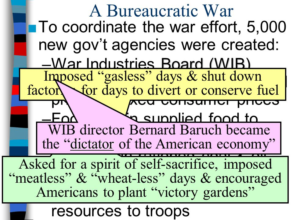 ■To coordinate the war effort, 5,000 new gov't agencies were created: Board (WIB) –War Industries Board (WIB) oversaw all factories, determined priori