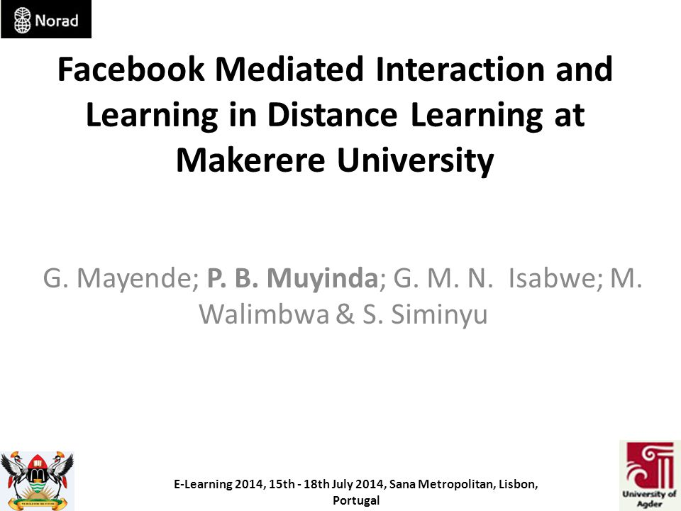 Facebook Mediated Interaction and Learning in Distance Learning at Makerere University G.