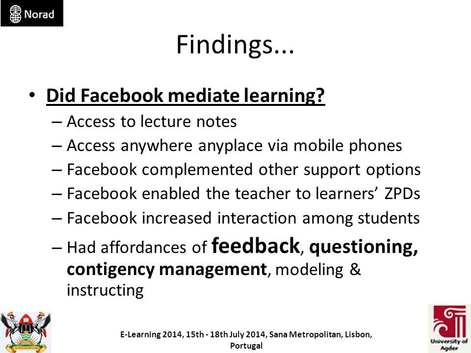 Findings... Did Facebook mediate learning.