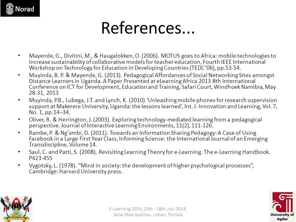 References... Mayende, G., Divitini, M., & Haugalokken, O.