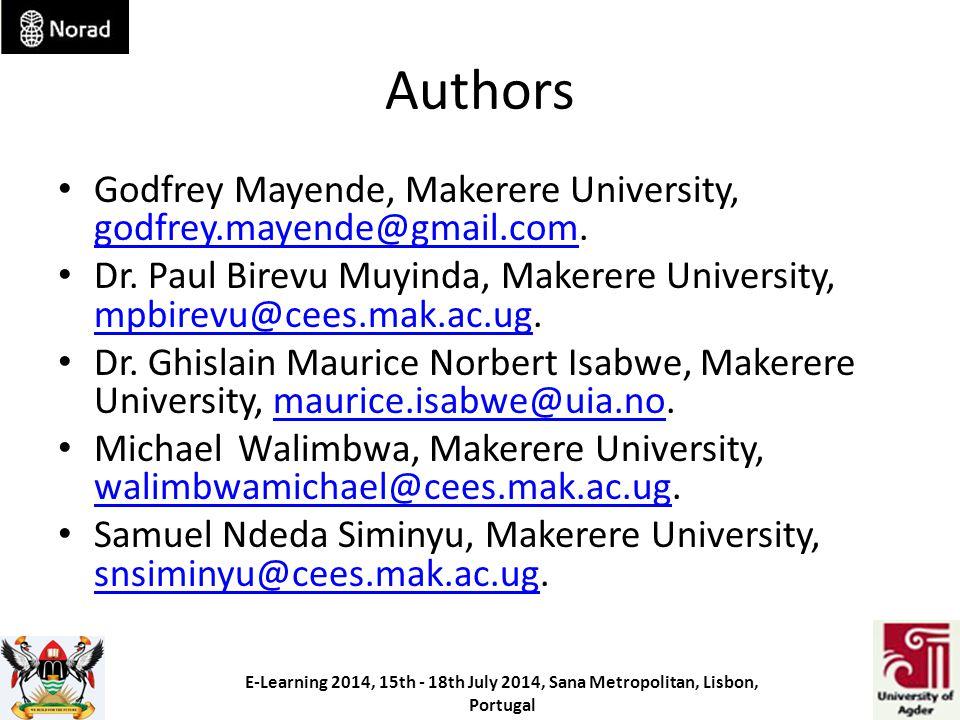 Authors Godfrey Mayende, Makerere University, godfrey.mayende@gmail.com.