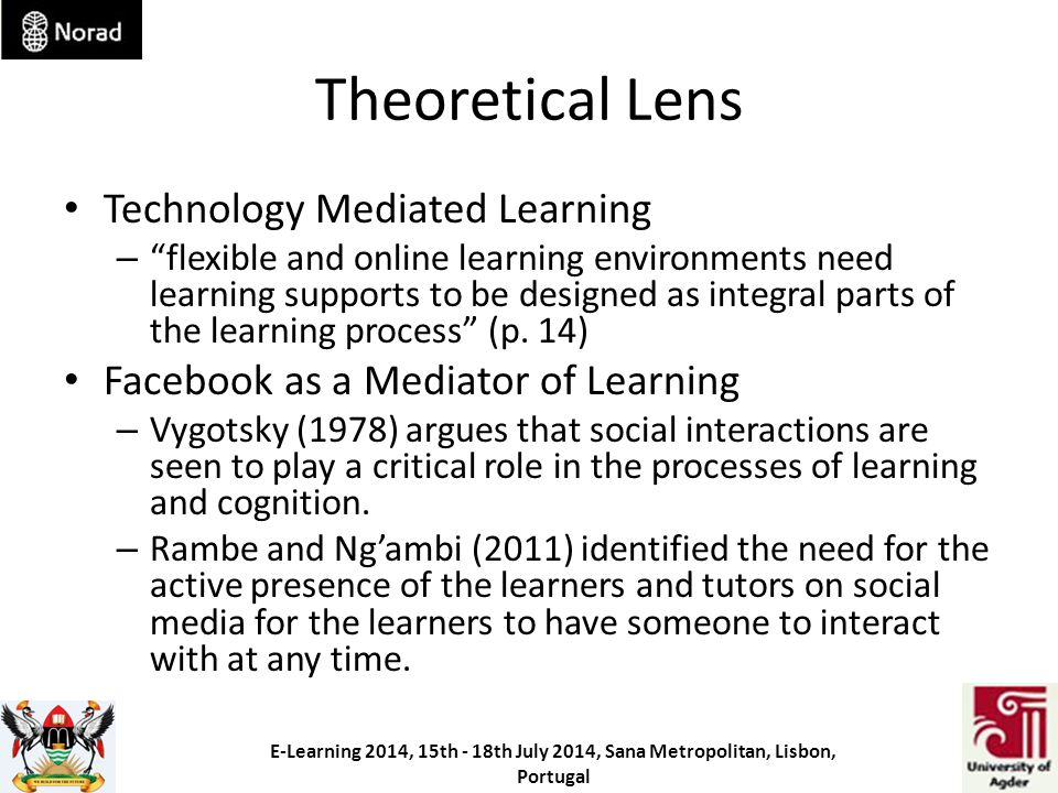 Theoretical Lens Technology Mediated Learning – flexible and online learning environments need learning supports to be designed as integral parts of the learning process (p.