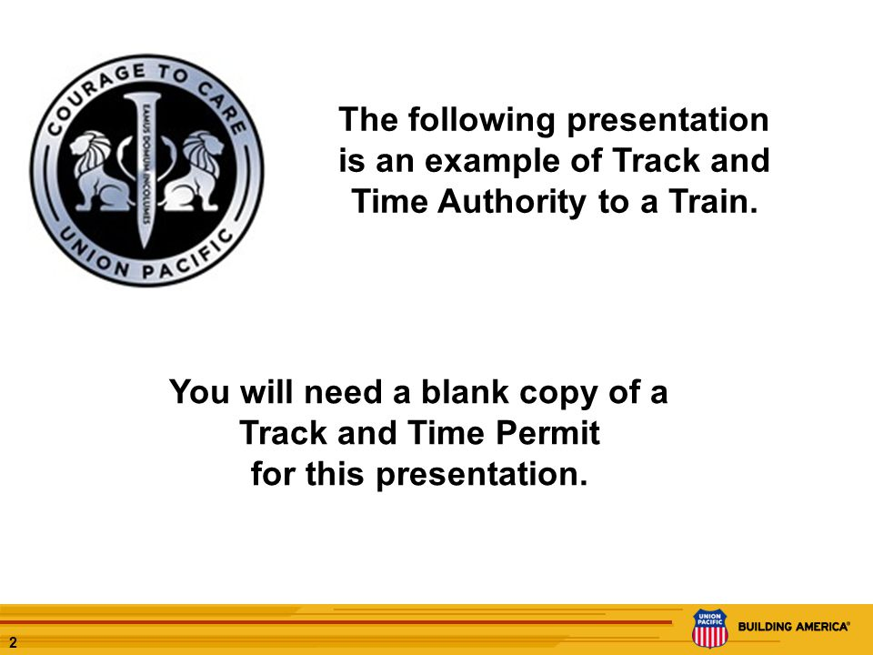 1 Track and Time to a Train Field Presentation