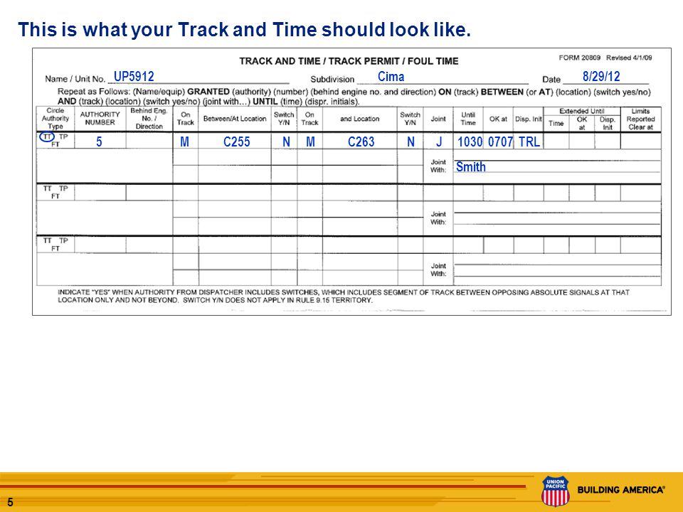 4 LUM46 T0001 TRACK AND TIME What the Dispatcher sees: T0001 Use the Track and Time form provided and copy the permit as it is issued. UP5912Cima8/29/