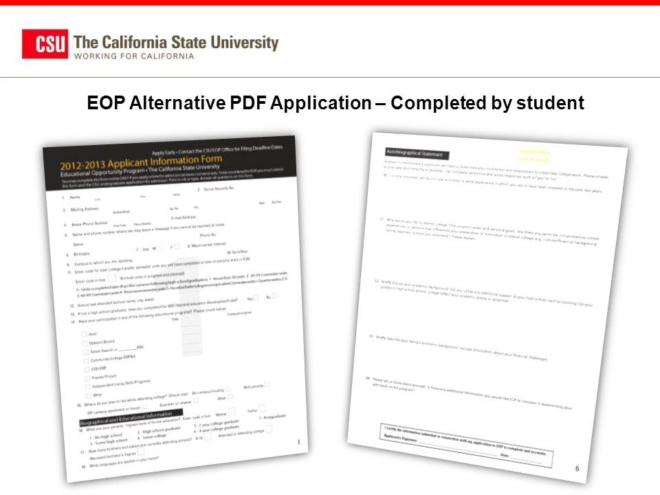 EOP Alternative PDF Application – Completed by student