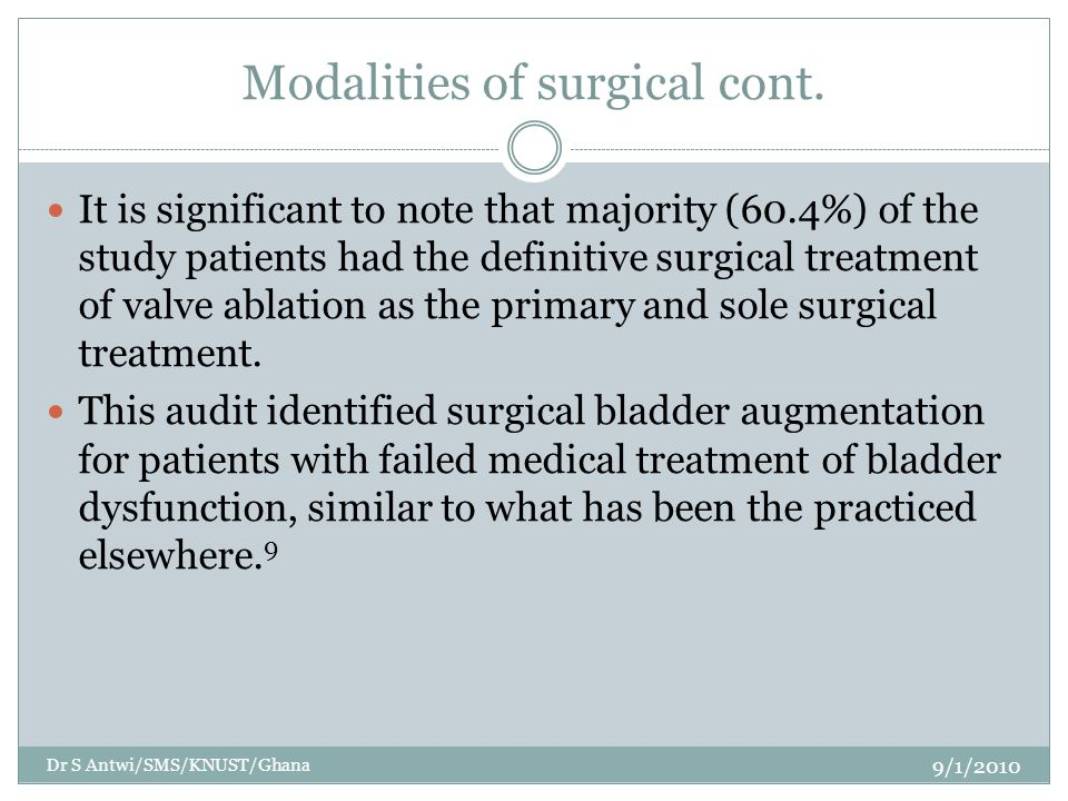 Modalities of surgical cont.