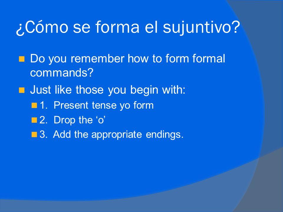 Subjunctive verb endings  -ar verbs  Yoe  Túes  Éle  Nosotrosemos  Ellosen  -er and –ir endings  Yoa  Túas  Éla  Nosotrosamos  Ellosan