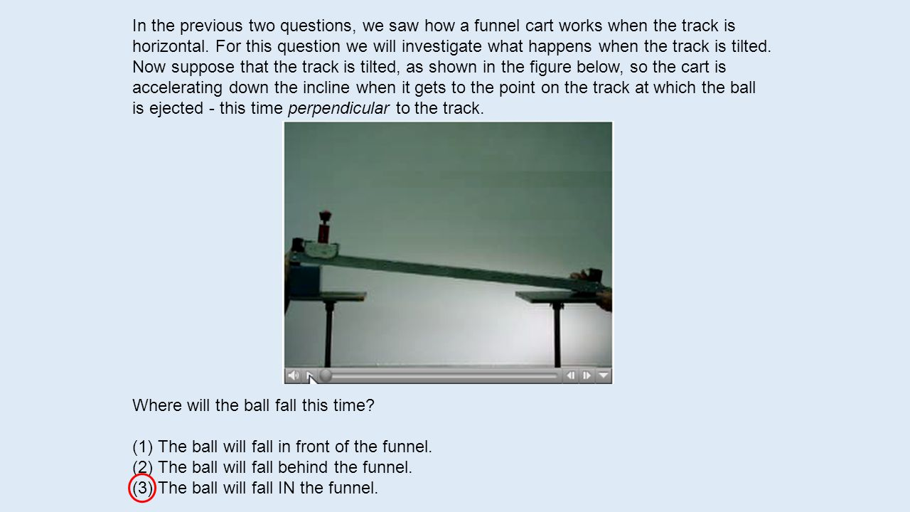 In the previous two questions, we saw how a funnel cart works when the track is horizontal.