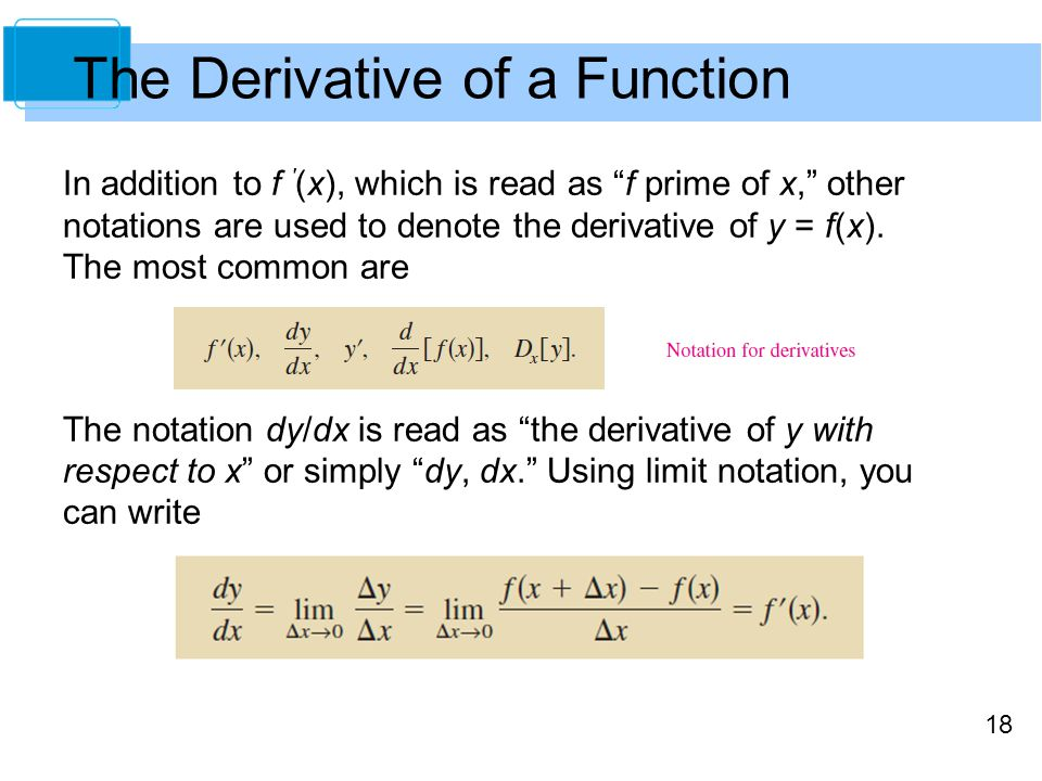 """18 In addition to f ′ (x), which is read as """"f prime of x,"""" other notations are used to denote the derivative of y = f(x). The most common are The not"""