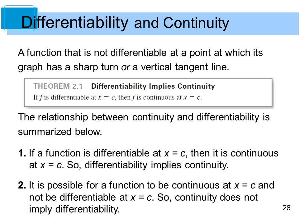 28 Differentiability and Continuity A function that is not differentiable at a point at which its graph has a sharp turn or a vertical tangent line. T