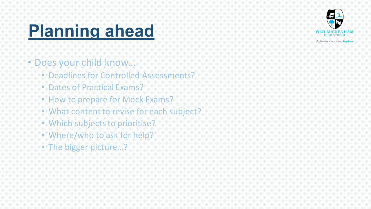 Planning ahead Does your child know... Deadlines for Controlled Assessments.