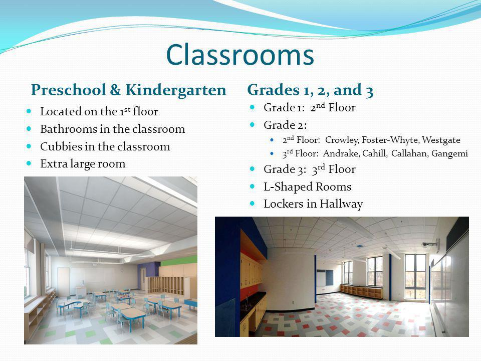 Classrooms Preschool & Kindergarten Grades 1, 2, and 3 Located on the 1 st floor Bathrooms in the classroom Cubbies in the classroom Extra large room Grade 1: 2 nd Floor Grade 2: 2 nd Floor: Crowley, Foster-Whyte, Westgate 3 rd Floor: Andrake, Cahill, Callahan, Gangemi Grade 3: 3 rd Floor L-Shaped Rooms Lockers in Hallway