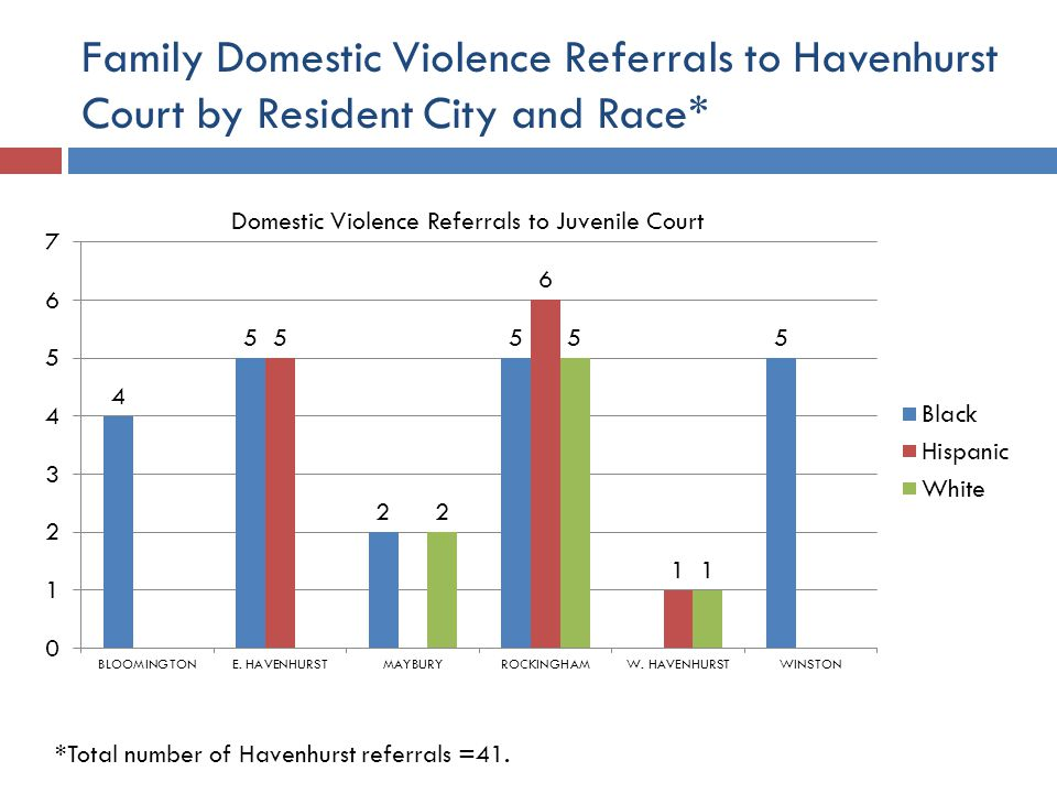 Family Domestic Violence Referrals to Havenhurst Court by Resident City and Race* *Total number of Havenhurst referrals =41.