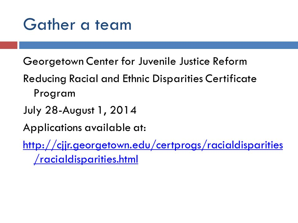 Gather a team Georgetown Center for Juvenile Justice Reform Reducing Racial and Ethnic Disparities Certificate Program July 28-August 1, 2014 Applications available at: http://cjjr.georgetown.edu/certprogs/racialdisparities /racialdisparities.html