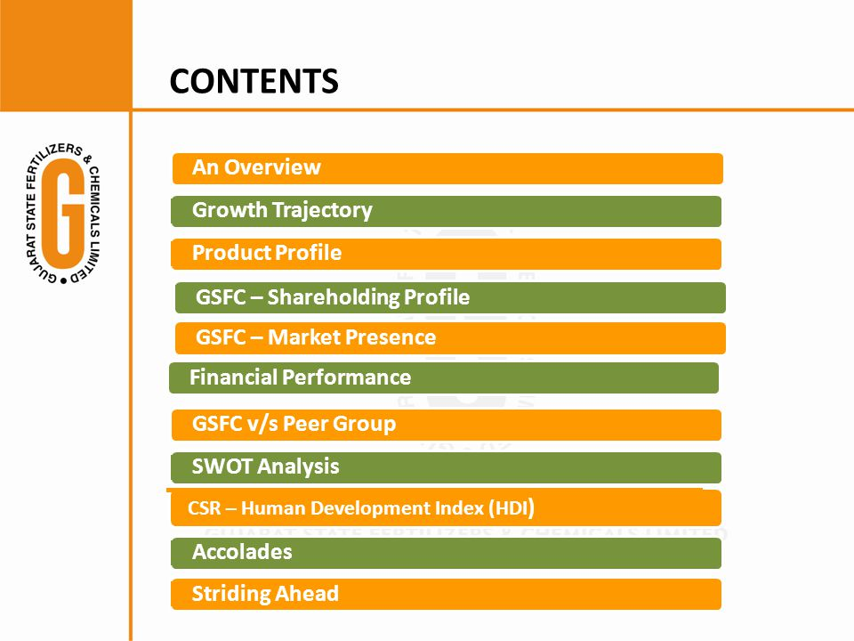 CONTENTS Growth TrajectoryProduct Profile GSFC – Market Presence Financial Performance GSFC v/s Peer Group SWOT Analysis CSR – Human Development Index (HDI ) Accolades Striding AheadAn OverviewGSFC – Shareholding Profile