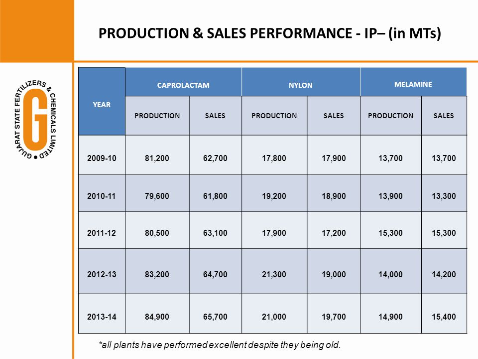 PRODUCTION & SALES PERFORMANCE - IP– (in MTs) YEAR CAPROLACTAMNYLON MELAMINE PRODUCTIONSALESPRODUCTIONSALESPRODUCTIONSALES 2009-1081,20062,70017,80017,90013,700 2010-1179,60061,80019,20018,90013,90013,300 2011-1280,50063,10017,90017,20015,300 2012-1383,20064,70021,30019,00014,00014,200 2013-1484,90065,70021,00019,70014,90015,400 *all plants have performed excellent despite they being old.