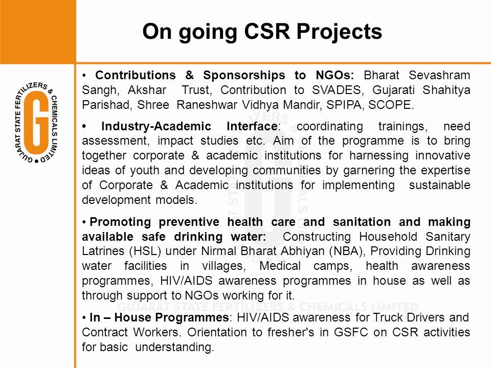 Contributions & Sponsorships to NGOs: Bharat Sevashram Sangh, Akshar Trust, Contribution to SVADES, Gujarati Shahitya Parishad, Shree Raneshwar Vidhya Mandir, SPIPA, SCOPE.